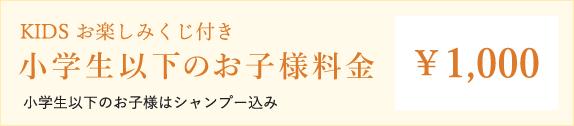 小学生以下のお子様料金 ¥1,000